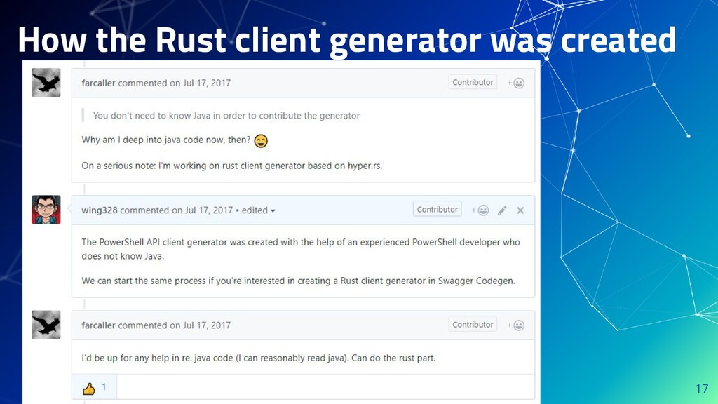 How the Rust client generator was created 17