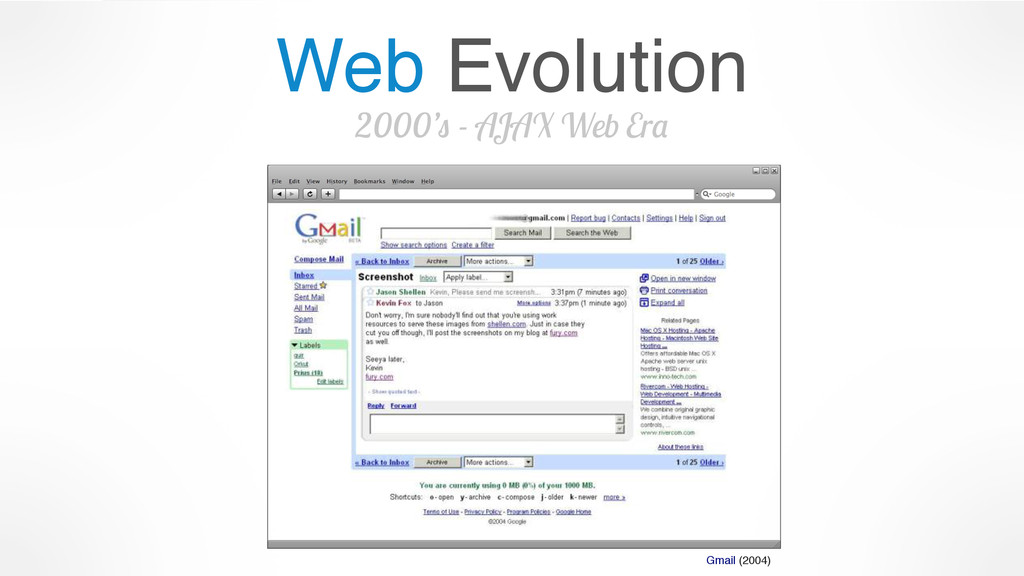 Web Evolution 2000's - AJAX Web Era Gmail (2004)