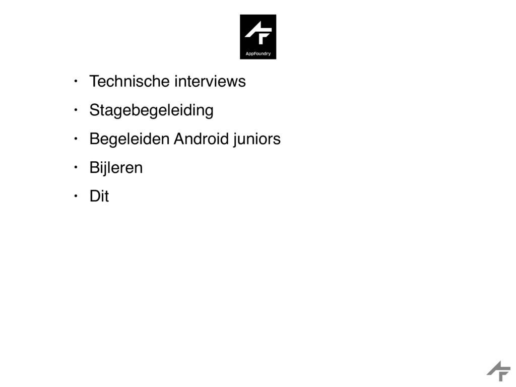• Technische interviews • Stagebegeleiding • Be...