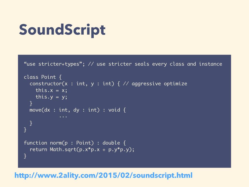 """SoundScript """"use stricter+types""""; // use strict..."""