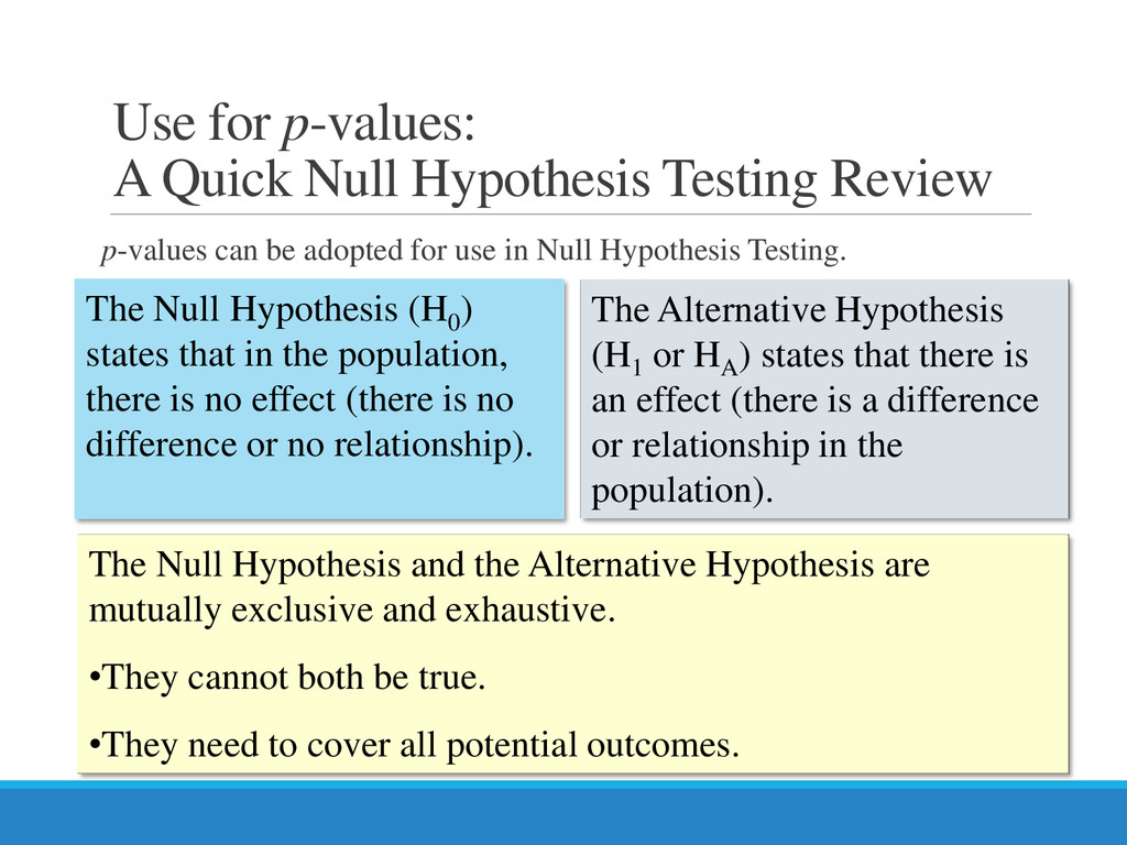 Use for p-values: A Quick Null Hypothesis Testi...