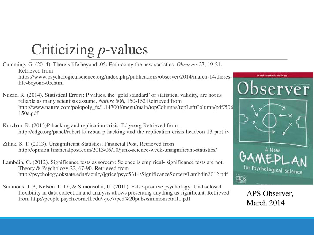Criticizing p-values Cumming, G. (2014). There'...