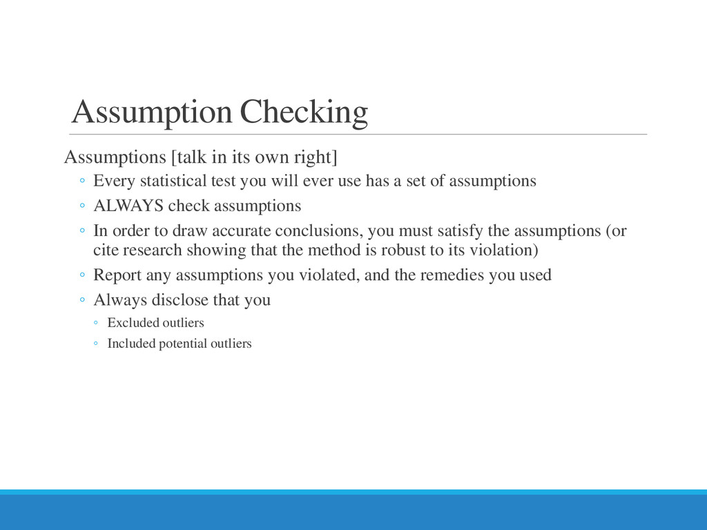 Assumption Checking Assumptions [talk in its ow...