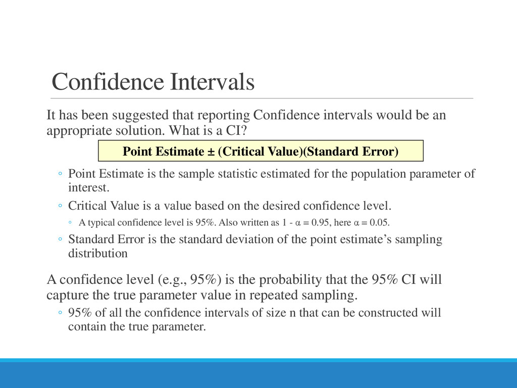 Confidence Intervals It has been suggested that...