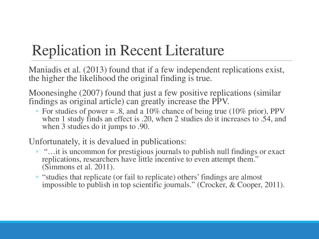 Replication in Recent Literature Maniadis et al...