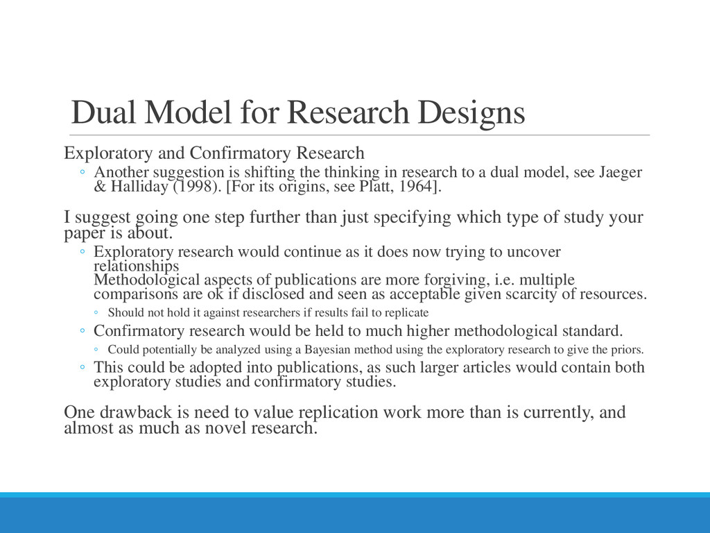 Dual Model for Research Designs Exploratory and...