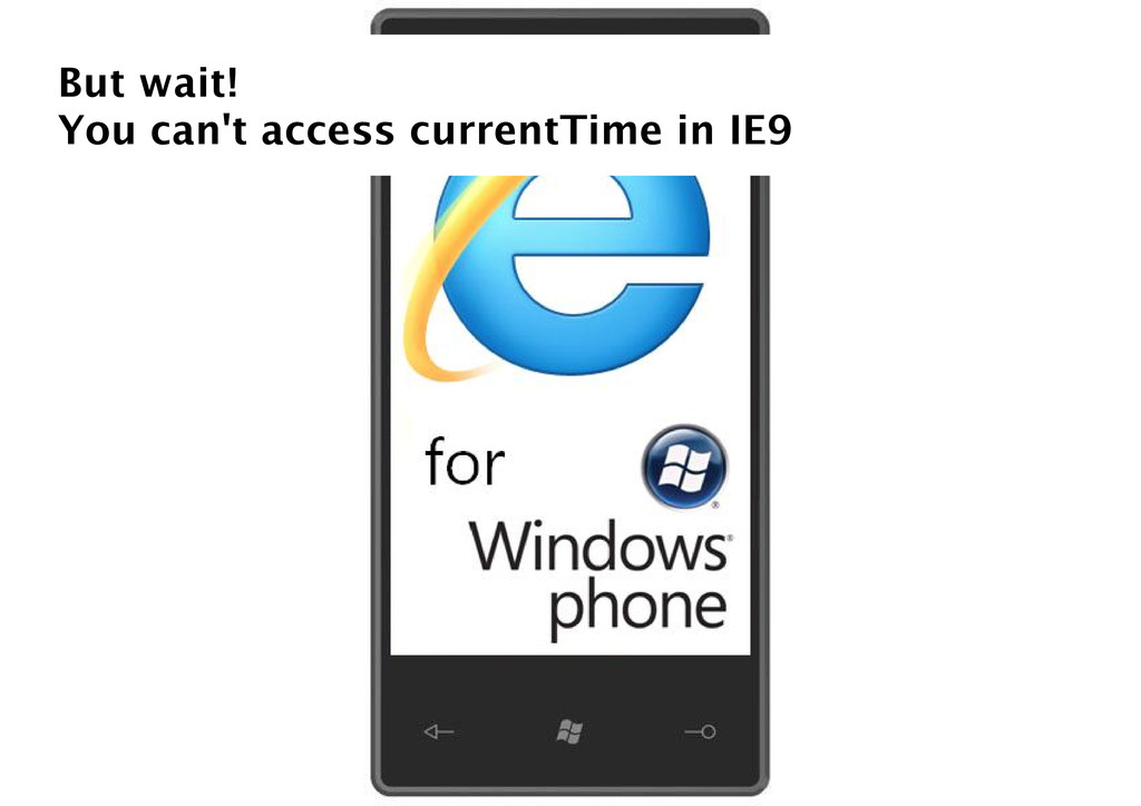 But wait! You can't access currentTime in IE9