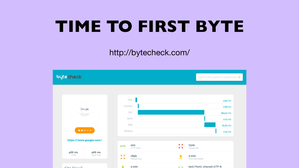 TIME TO FIRST BYTE http://bytecheck.com/