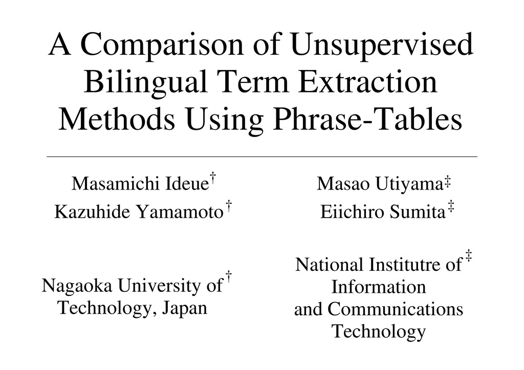 A Comparison of Unsupervised Bilingual Term Ext...