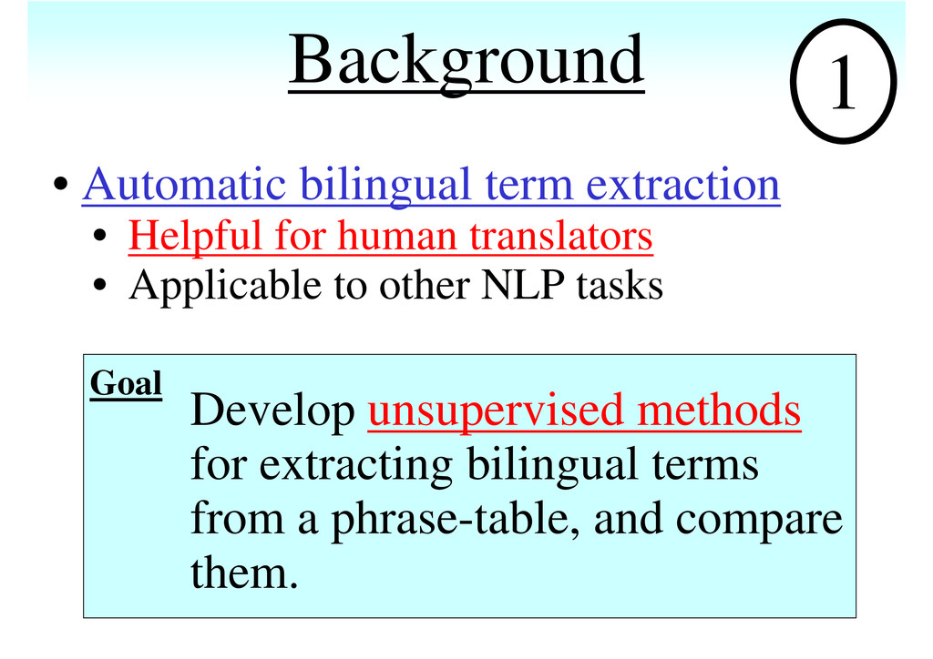 Background • Automatic bilingual term extractio...