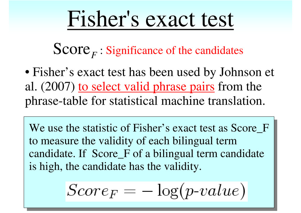 Fisher's exact test : Significance of the candi...