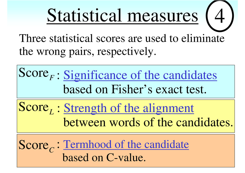 Statistical measures 4 Three statistical scores...
