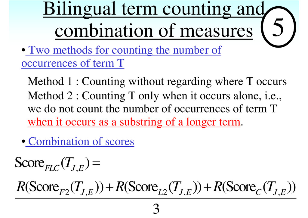Bilingual term counting and combination of meas...