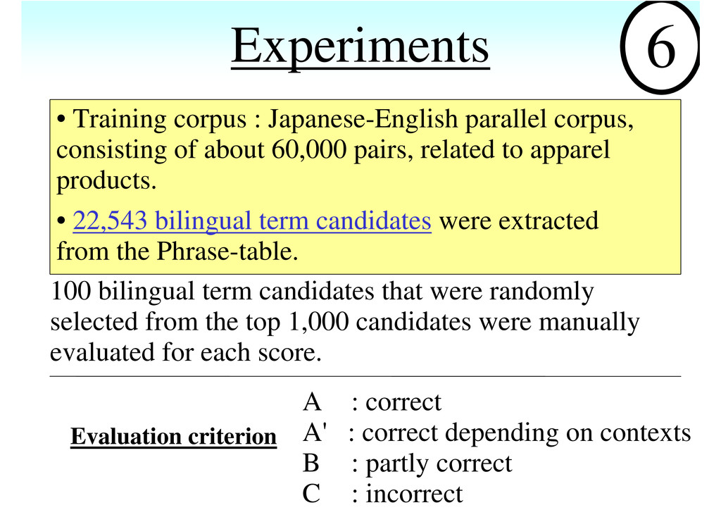Experiments 100 bilingual term candidates that ...