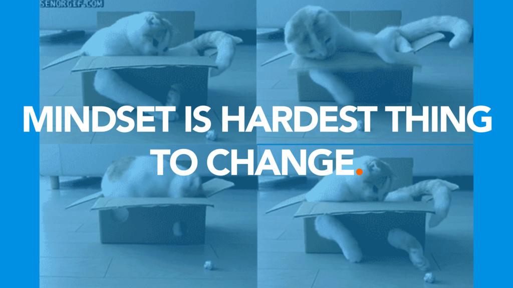 MINDSET IS HARDEST THING TO CHANGE.