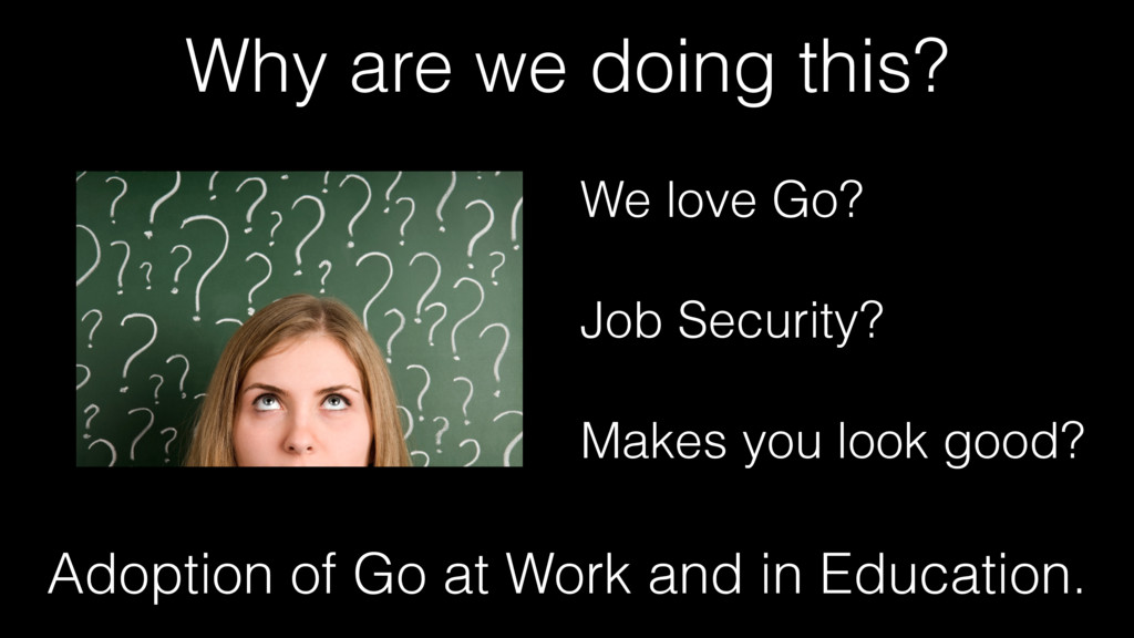 Why are we doing this? We love Go? Job Security...