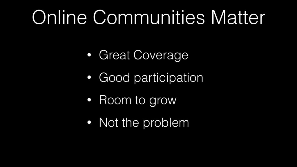 Online Communities Matter • Great Coverage • Go...