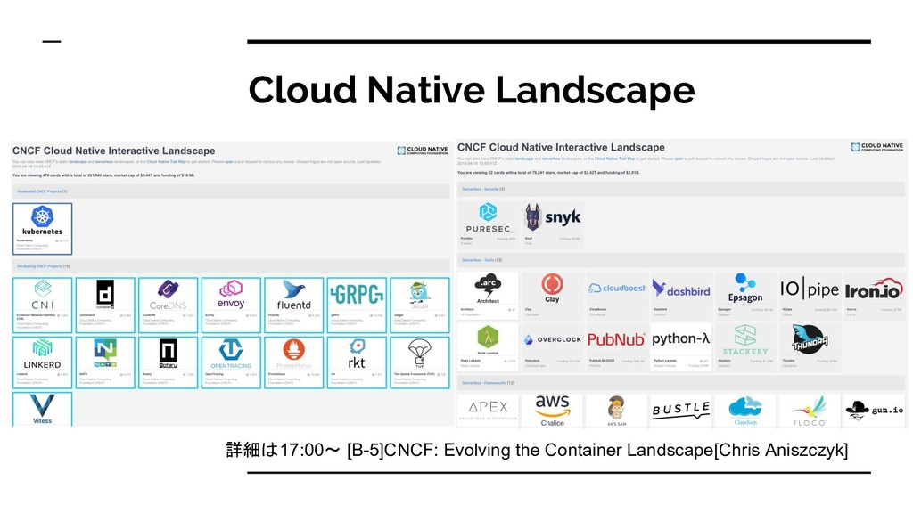 Cloud Native Landscape 詳細 17:00〜 [B-5]CNCF: Evo...