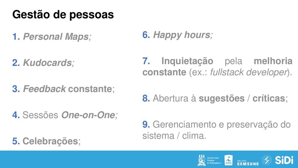 Gestão de pessoas 1. Personal Maps; 2. Kudocard...