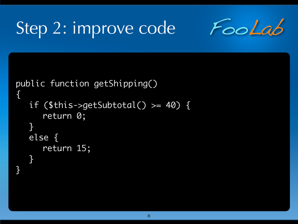 FooLab Step 2: improve code public function get...