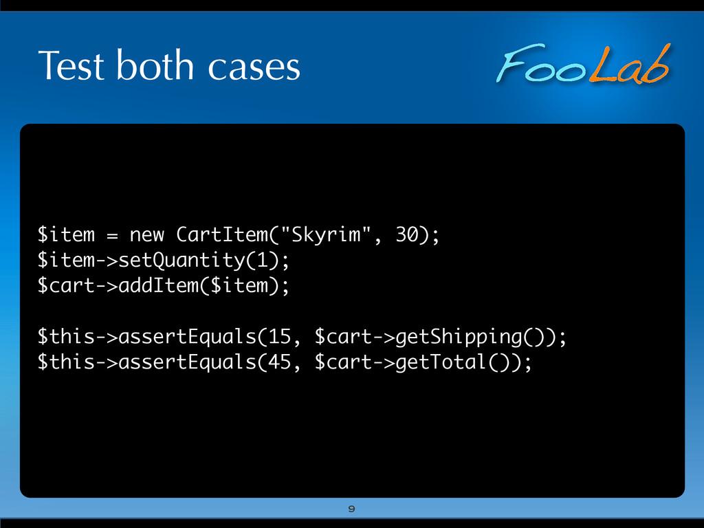 """FooLab Test both cases $item = new CartItem(""""Sk..."""