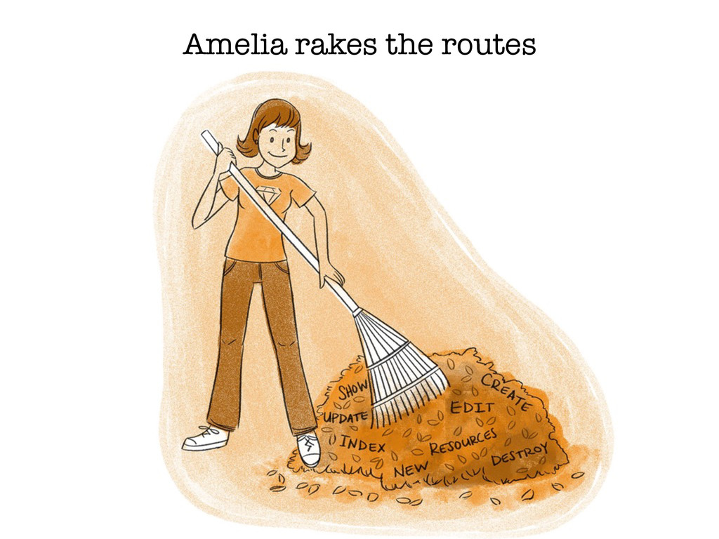 Amelia rakes the routes