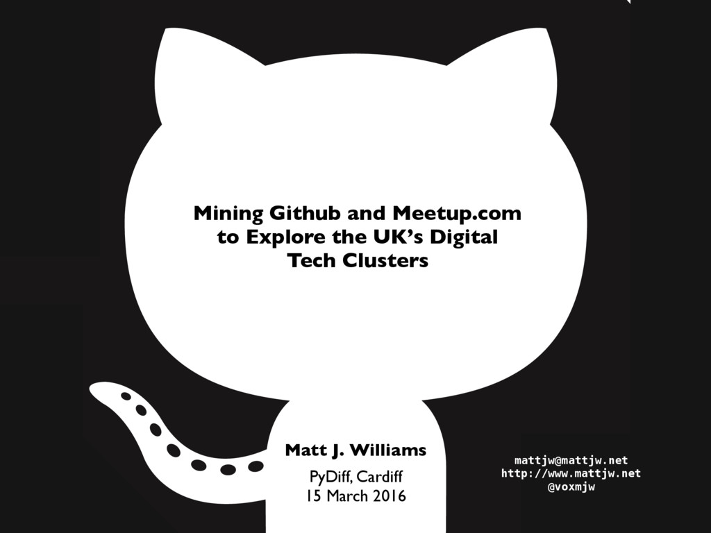 PyDiff, Cardiff 15 March 2016 Mining Github and...