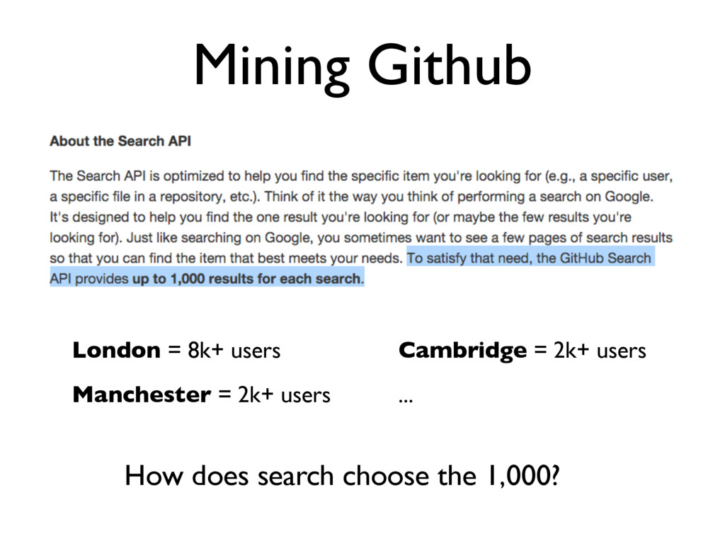 Mining Github London = 8k+ users Manchester = 2...