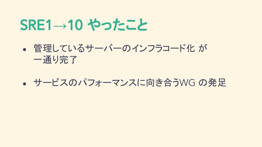 SRE1→10 やったこと ● 管理しているサーバーのインフラコード化 が 一通り完了 ● サ...
