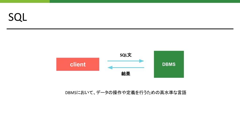 SQL DBMSにおいて、データの操作や定義を行うための高水準な言語 client SQL文 ...