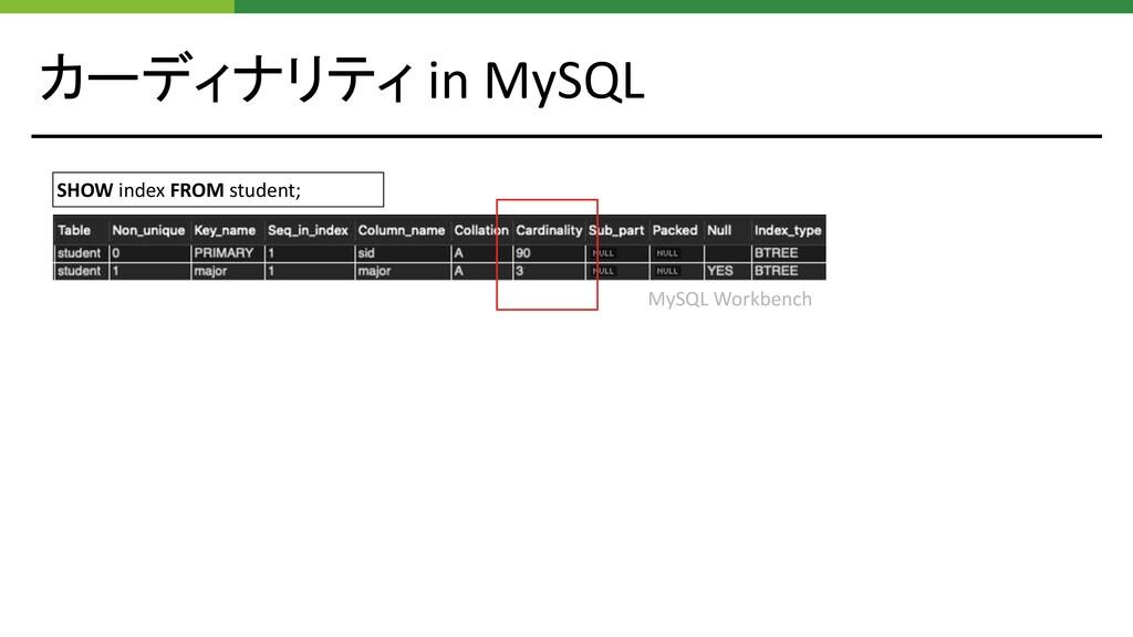 カーディナリティ in MySQL SHOW index FROM student; MySQ...