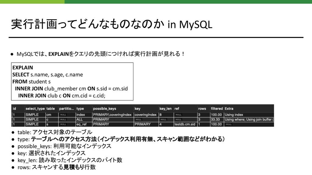 実行計画ってどんなものなのか in MySQL EXPLAIN SELECT s.name, ...