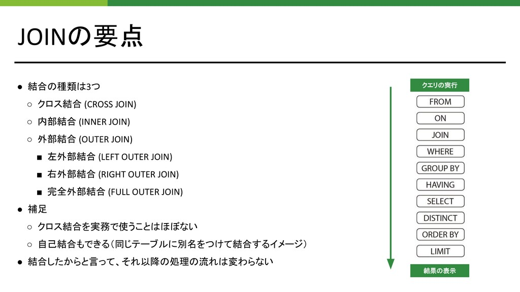 JOINの要点 ● 結合の種類は3つ ○ クロス結合 (CROSS JOIN) ○ 内部結合 ...