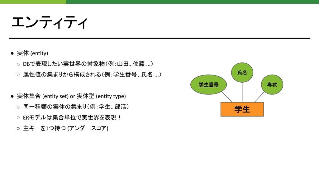 エンティティ ● 実体 (entity) ○ DBで表現したい実世界の対象物(例:山田、佐藤 ...
