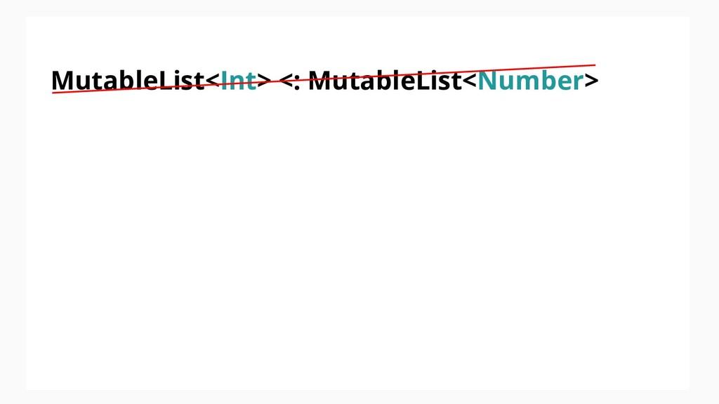 MutableList<Int> <: MutableList<Number>