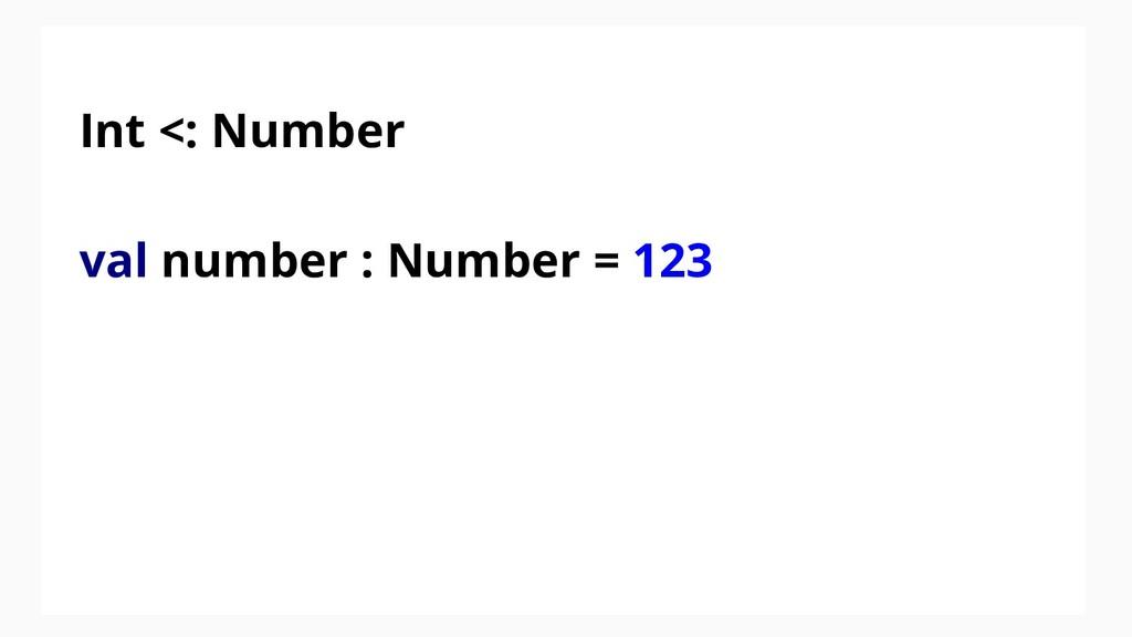 Int <: Number val number : Number = 123
