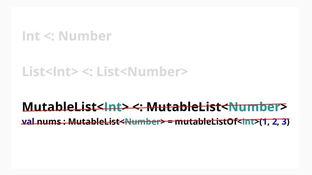 Int <: Number List<Int> <: List<Number> Mutable...