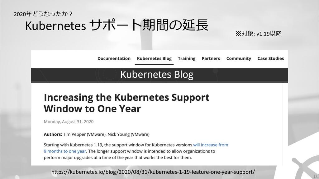 Kubernetes サポート期間の延⻑ 18 2020年どうなったか︖ ※対象: v1.19...