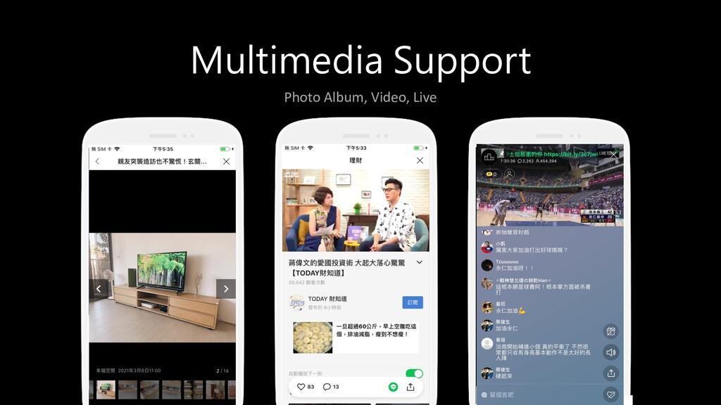 Multimedia Support Photo Album, Video, Live