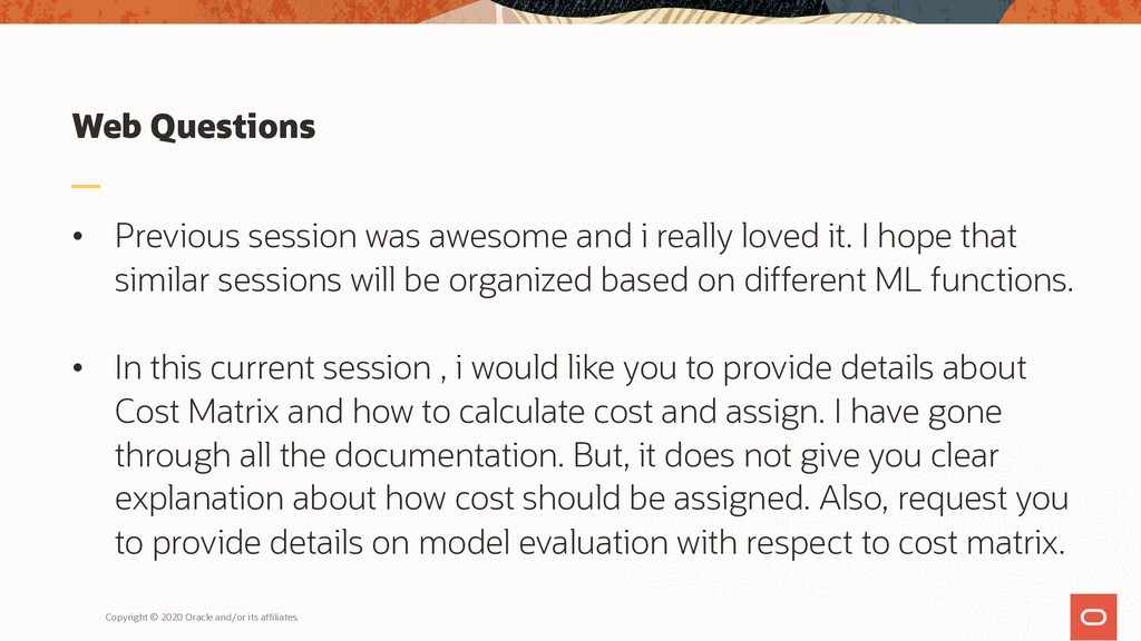 Web Questions • Previous session was awesome an...