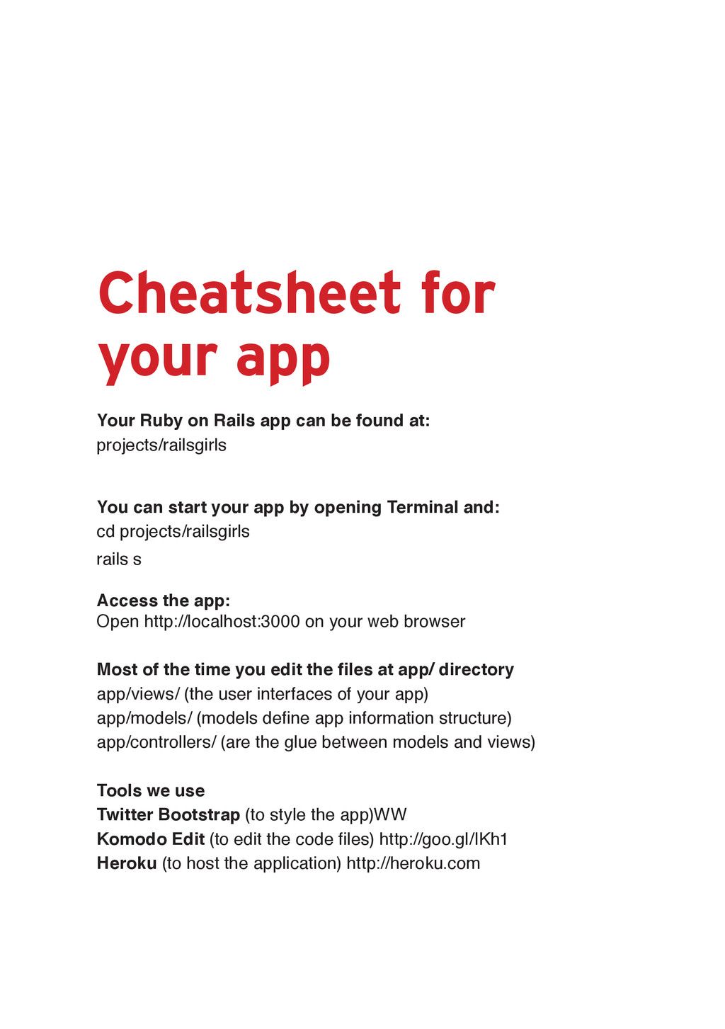 Cheatsheet for your app <RXU5XE\RQ5DLOVDSS...
