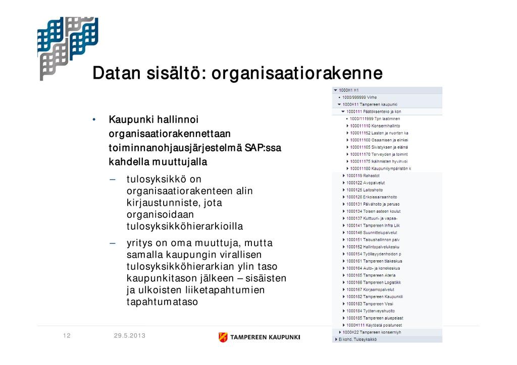 Datan sisältö: organisaatiorakenne • Kaupunki h...