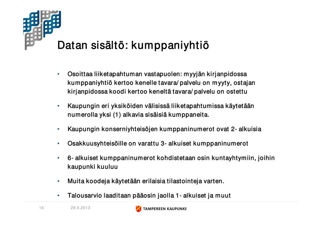 Datan sisältö: kumppaniyhtiö • Osoittaa liiketa...