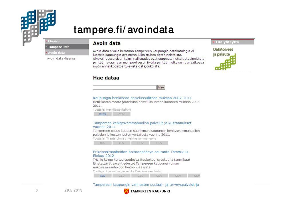 tampere.fi/avoindata 29.5.2013 6