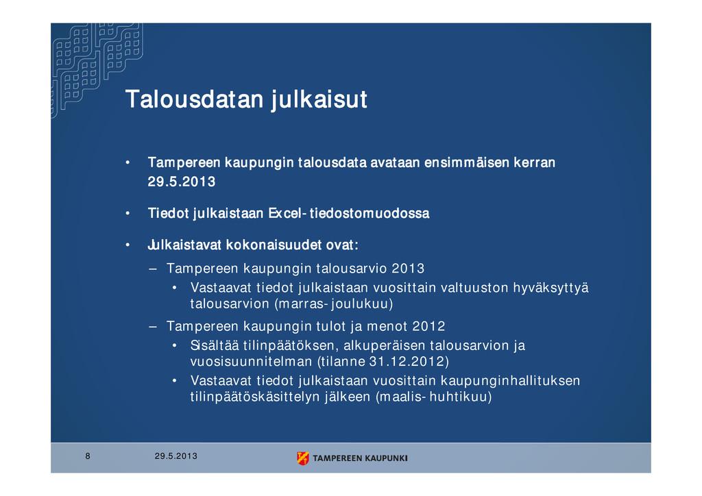 Talousdatan julkaisut • Tampereen kaupungin tal...