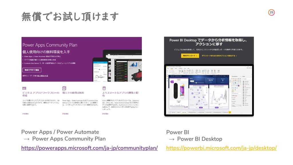 25 無償でお試し頂けます Power Apps / Power Automate → Pow...