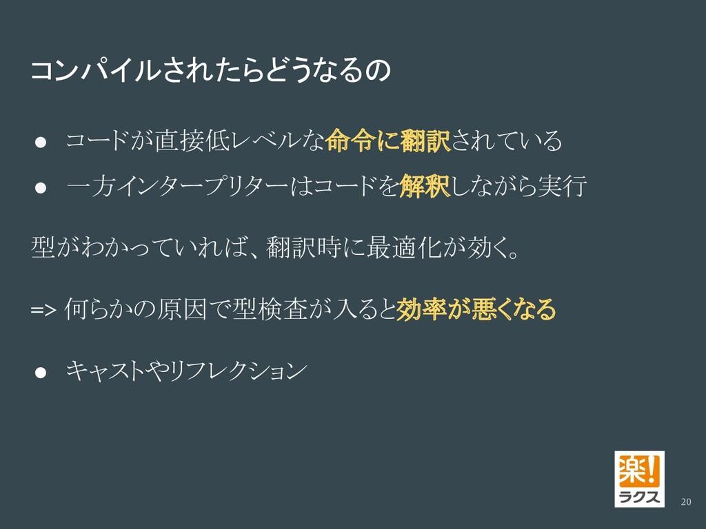 コンパイルされたらどうなるの ● コードが直接低レベルな命令に翻訳されている ● 一方インター...