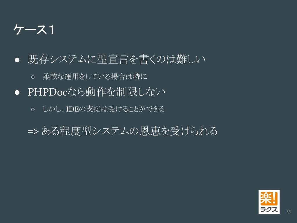 ケース1 ● 既存システムに型宣言を書くのは難しい ○ 柔軟な運用をしている場合は特に ● P...