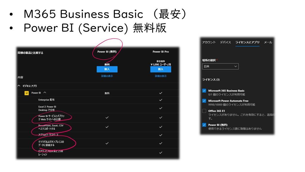 • M365 Business Basic (最安) • Power BI (Service)...