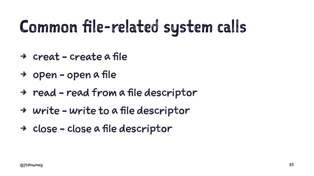 Common file-related system calls 4 creat - crea...